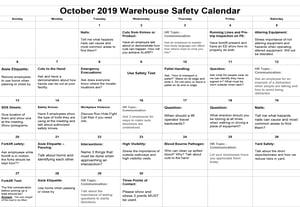 October 2019 Warehouse Safety Calendar Image
