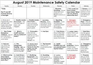 2019 August Maintenance Safety Calendar