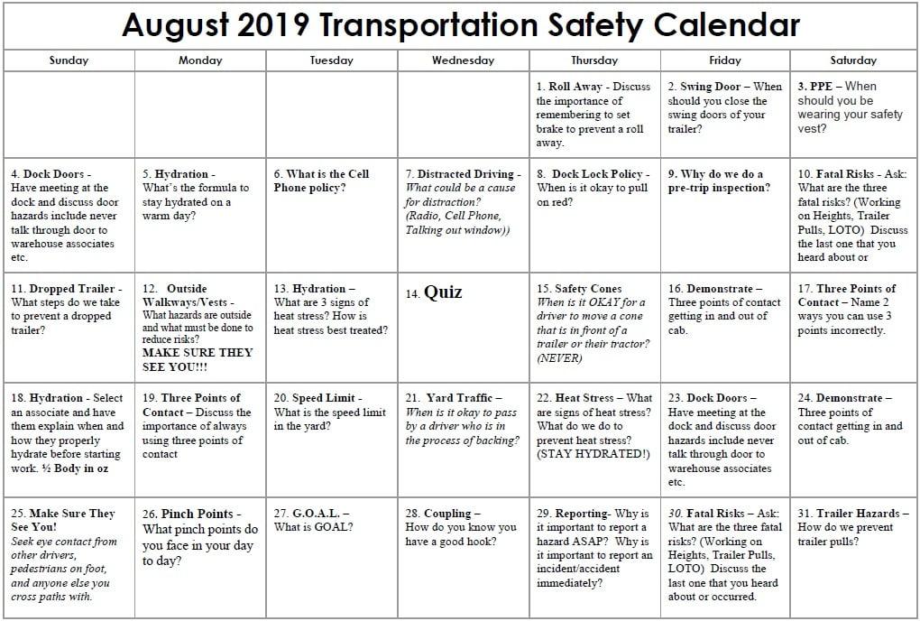 2019 August Transportation Safety Calendar