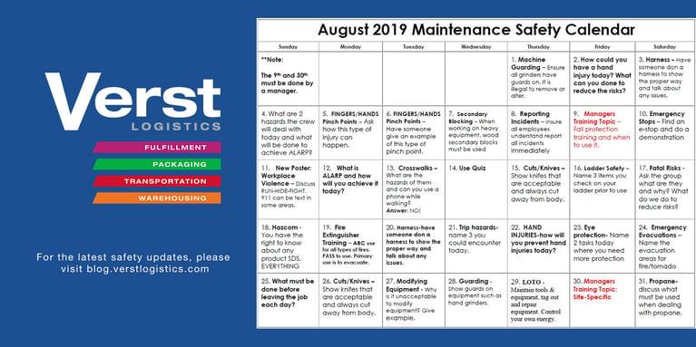 August 2019 Maintenance Safety Calendar