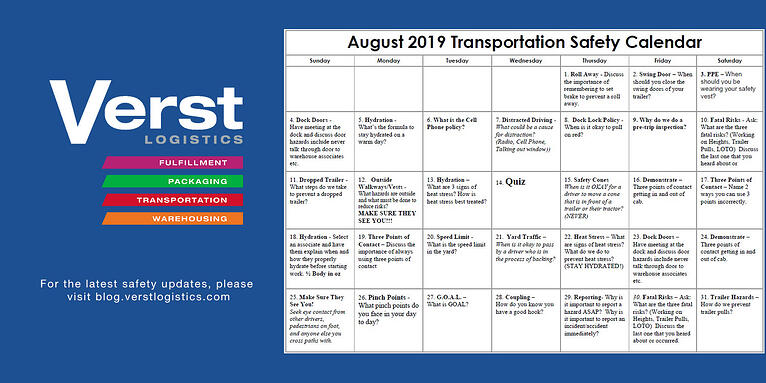 August 2019 Transportation Safety Calendar