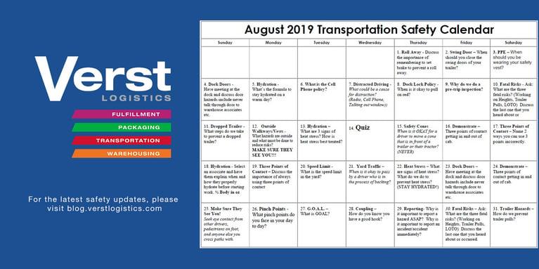 August 2019 Transportation Safety Calendar