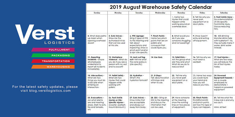 2019 August Warehouse Safety Calendar