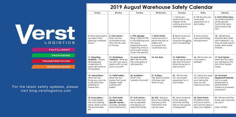 2019 August Warehouse Safety Calendar