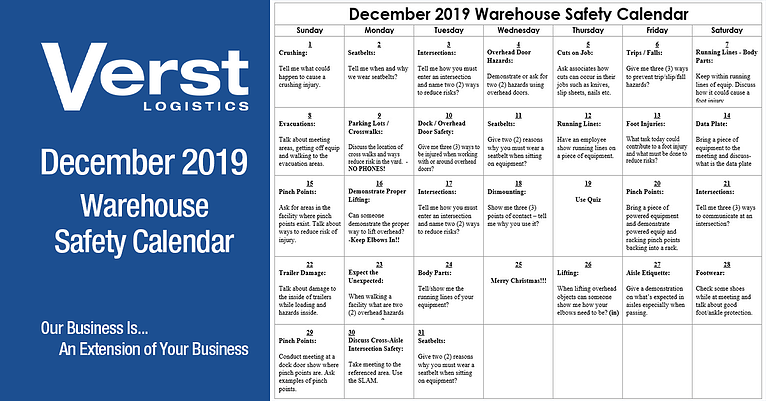 December 2019 Warehouse Safety Calendar