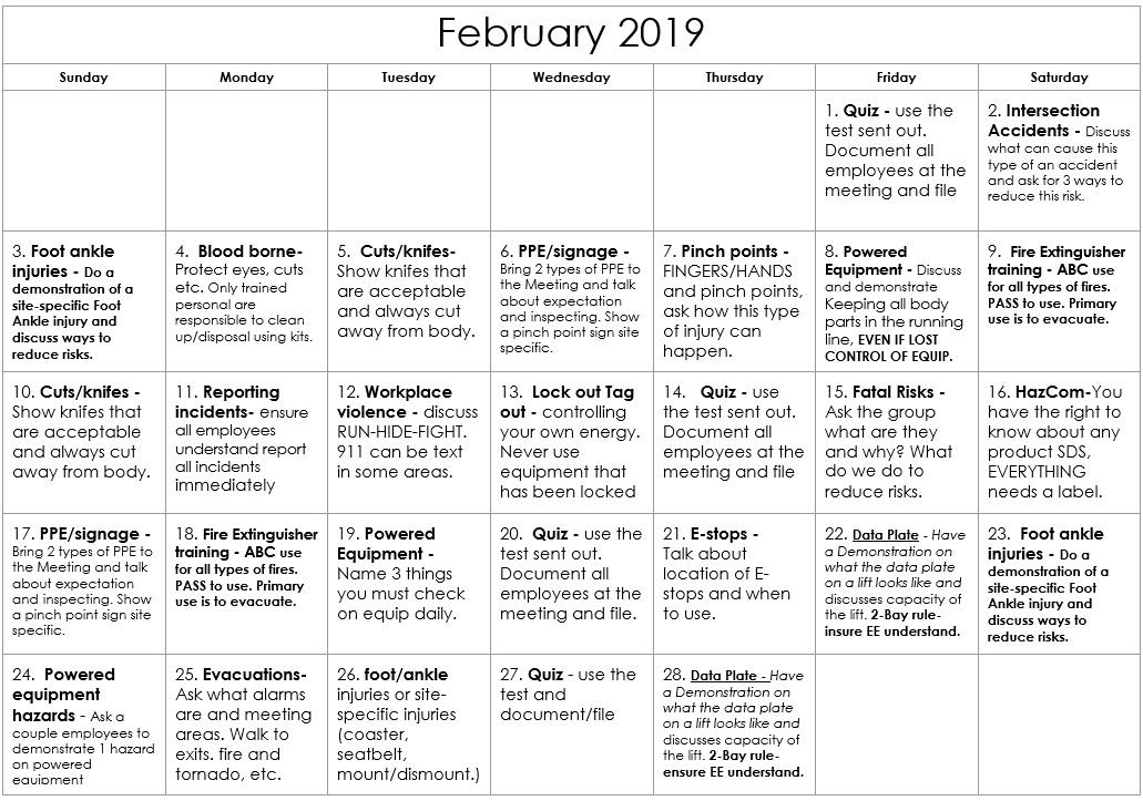 February 2019 Safety Calendar