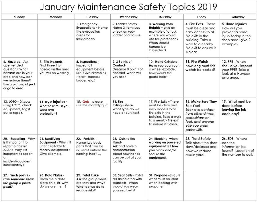 January Maintenance Safety Topics