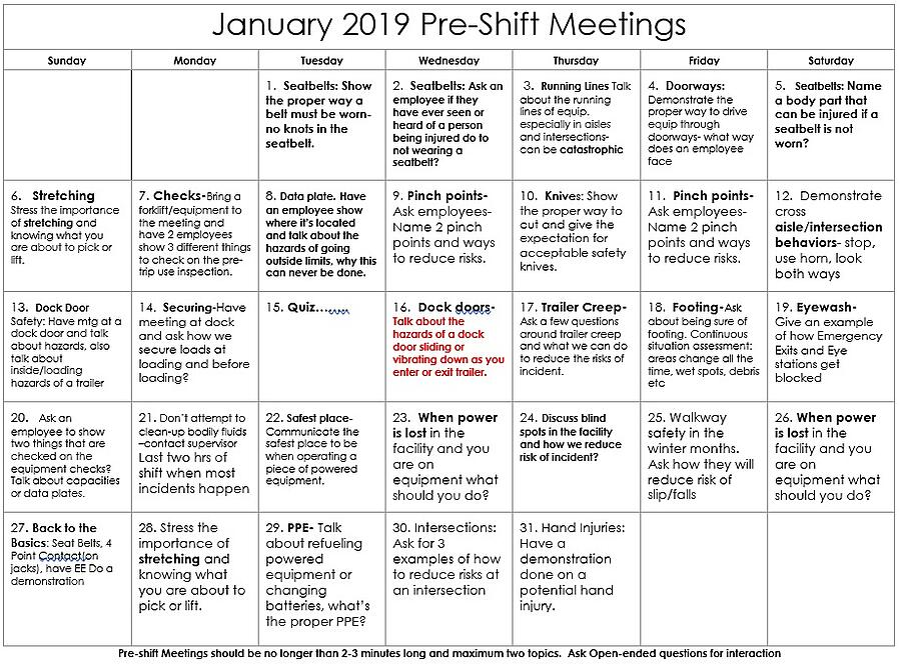 January Pre-Shift Meeting Topics