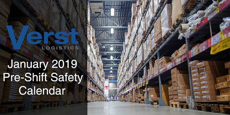 January 2019 Pre-Shift Safety Calendar