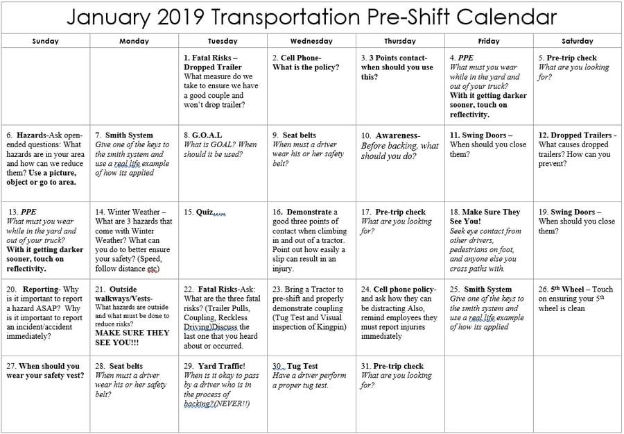 January Transportation Pre-Shift Safety Calendar