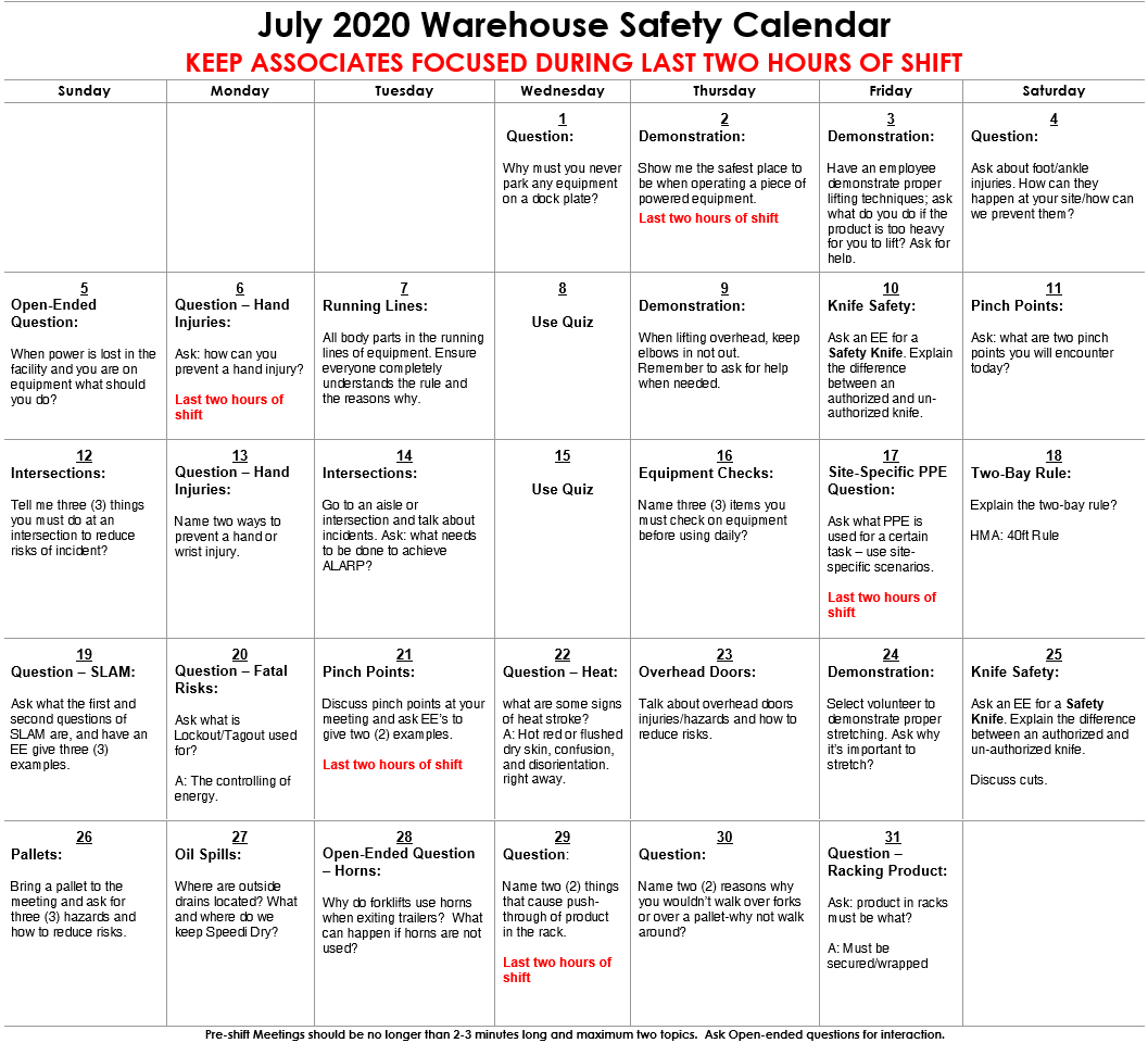 July 2020 Warehouse Safety Calendar Image Focusing on Keeping Employees Focused During Last Two Hours of Shift