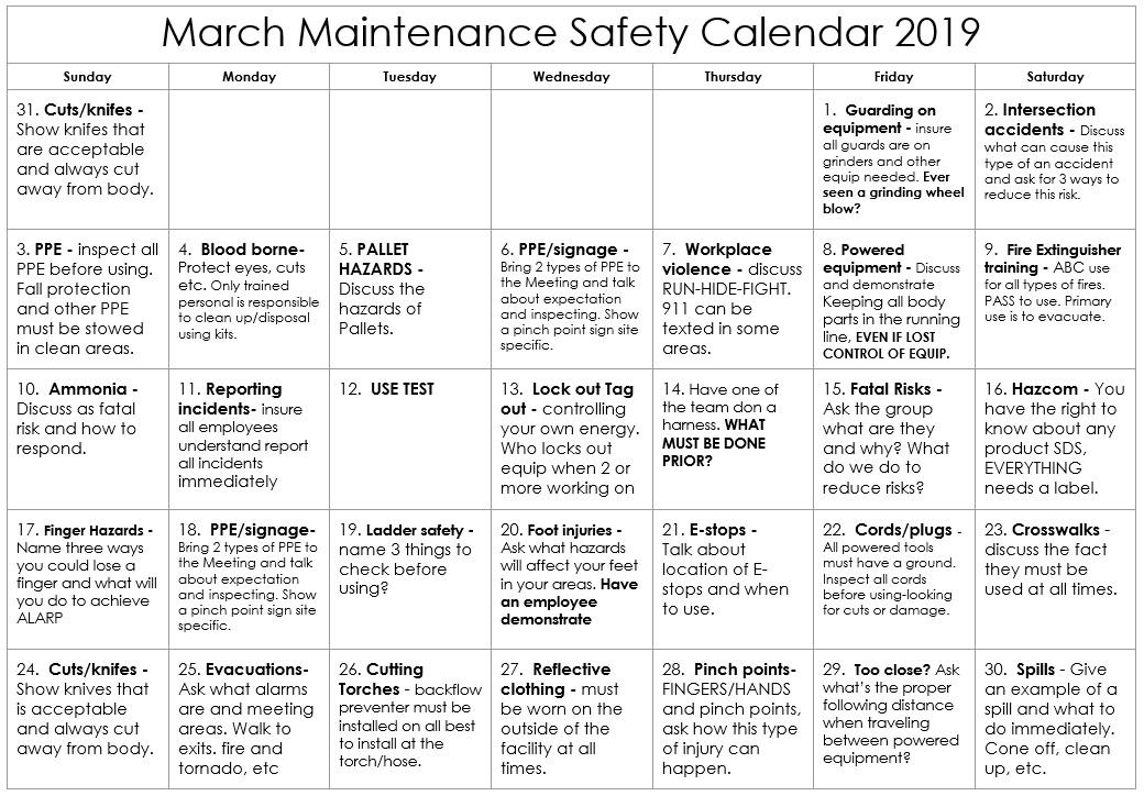March 2019 Maintenance Safety Calendar