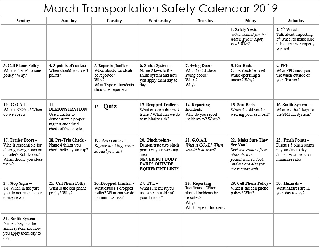 March 2019 Transportation Safety Calendar