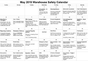 May 2019 Warehouse Safety Calendar Image