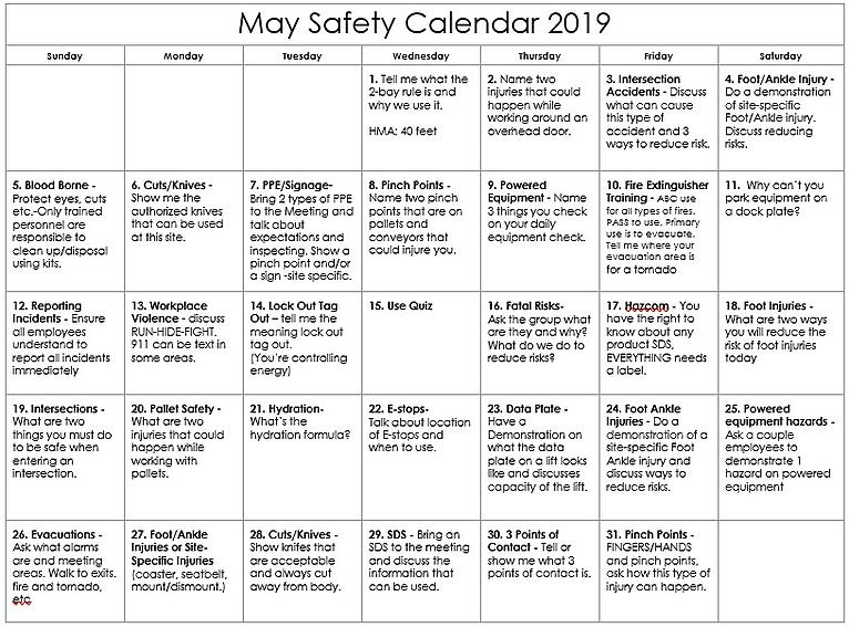 May 2019 Warehouse Safety Calendar