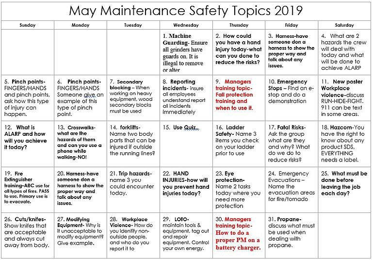 May 2019 Maintenance Safety Calendar