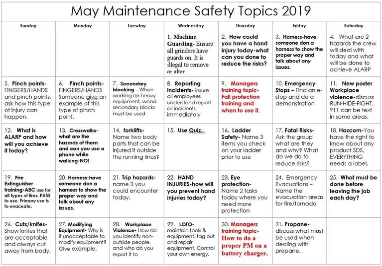 May2019 Maintenance Safety Calendar