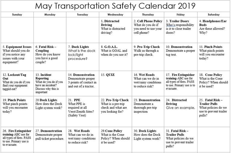 May 2019 Transportation Safety Calendar