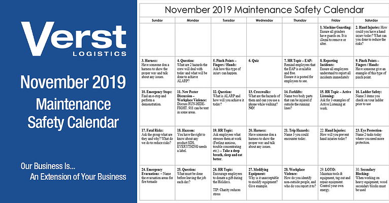 November 2019 Transportation Safety Calendar