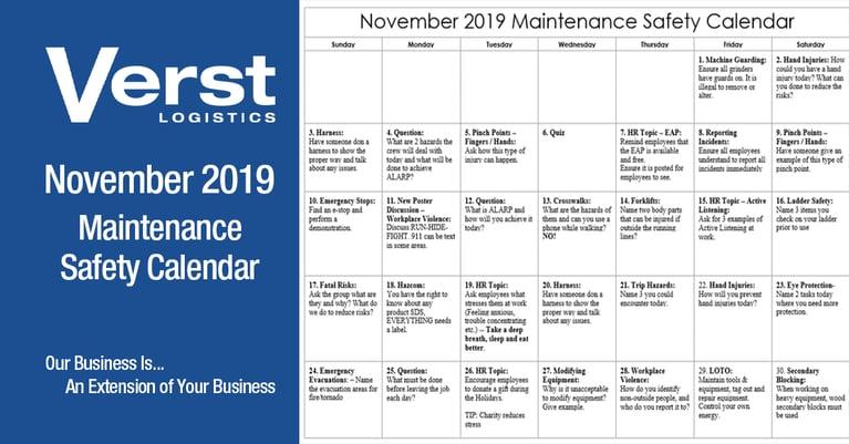 November 2019 Maintenance Safety Calendar