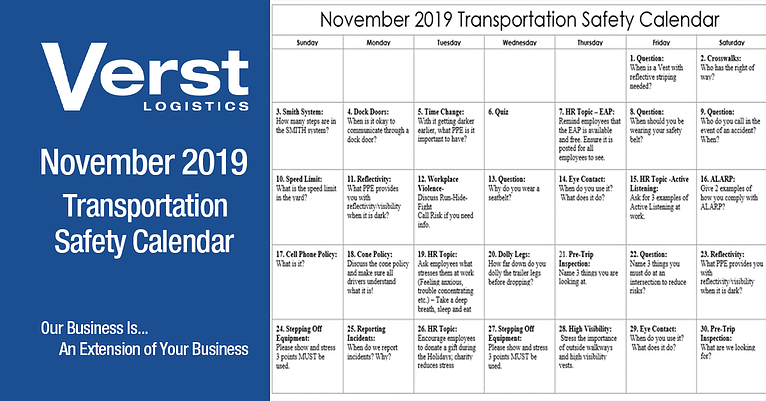 November 2019 Transportation Safety Calendar