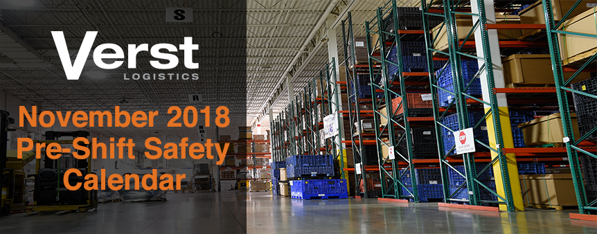 November 2018 Pre-Shift Safety Calendar