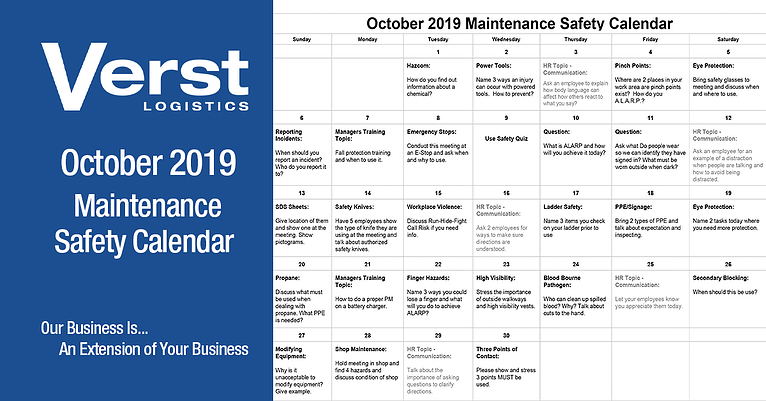 October 2019 Maintenance Safety Calendar