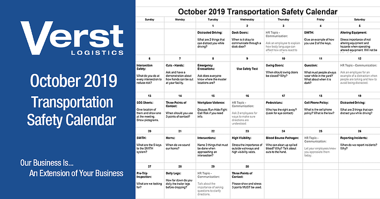 October 2019 Transportation Safety Calendar