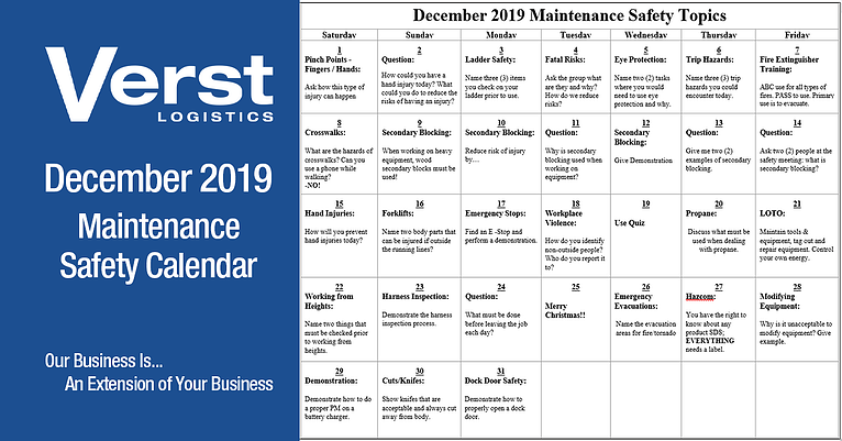 December 2019 Maintenance Safety Calendar