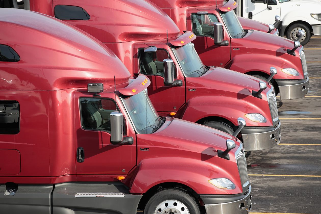 A rapid upturn in U.S. shipping demand is pushing up trucking rates at an unprecedented pace this year, and companies are bracing for costs to rise even more. PHOTO: SCOTT OLSON/GETTY IMAGES